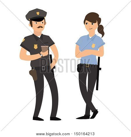 Policeman and Policewoman in Uniform. Friendly Police Officers. Flat Design Style. Vector illustration