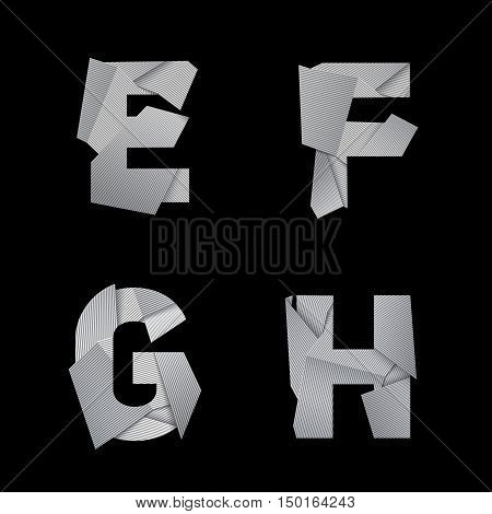 Paper alphabet, isolated on black background. E, F, G, H letters. Eps10 vector.
