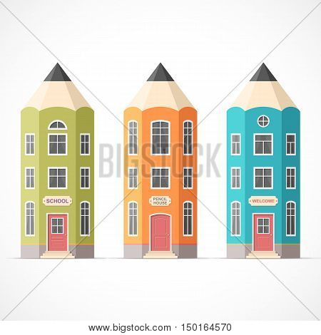 Set of colorful pencil houses. Vector illustration Eps 10