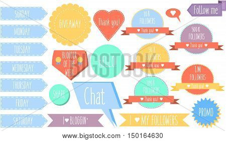 Isolated decorative design elements stickers banners and labels for social media and blogs. Vector collection for bloggers social networks mobile applications