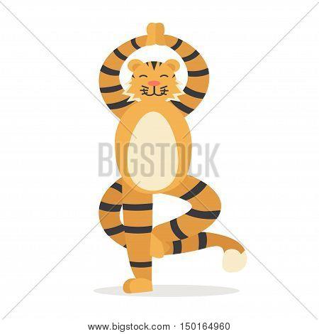 Yoga Animal Tiger. Cute Tigris Does Asana. Keep Calm. Flat Design Style. Vector illustration