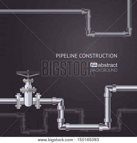 Abstract pipes background with flat designed pipeline and valve on pipe. Concept for web newsletters water, wastewater or oil pipeline industry. Vector illustration.