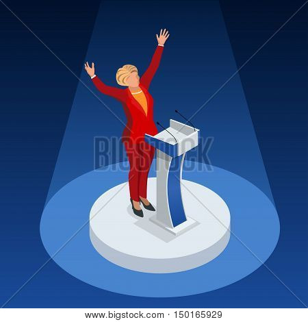Us Election 2016 infographic Democrat Republican party candidate convention. Usa symbol Presidential debate vector icon