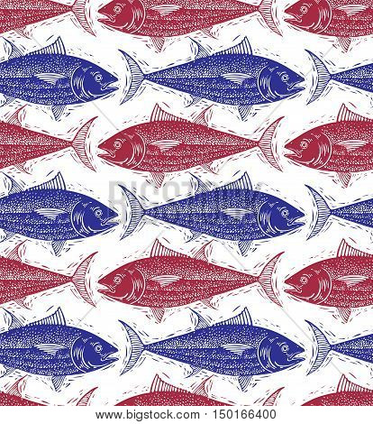 Freshwater fish vector endless pattern nature and marine theme seamless tiling.