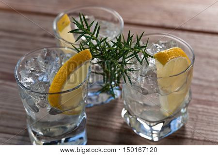 Gin With Lemon And Sprigs Of Juniper