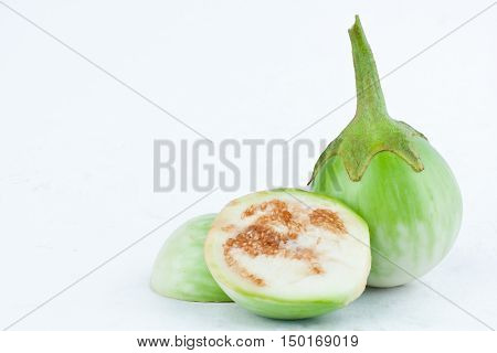 fresh thai eggplant or Yellow berried nightshade on white background eggplant aubergine  vegetable isolated