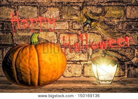 Happy Halloween! Pumpkin, lamp and bat. 3D illustration