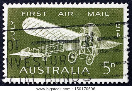 AUSTRALIA - CIRCA 1964: a stamp printed in Australia shows Bleriot 60 Plane 1914 50th Anniversary of the First Air Mail Flight in Australia Maurice Gauilaux Aviator circa 1964