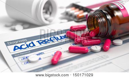 Acid Reflux - Handwritten Diagnosis in the Anamnesis. Medicine Concept with Red Pills, Close Up View, Selective Focus. Acid Reflux Text in Disease Extract. CloseUp View of Medicine Concept. 3D Render.