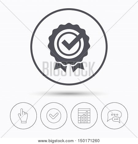 Award medal icon. Winner emblem with tick symbol. Chat speech bubbles. Check tick, report chart and hand click. Linear icons. Vector