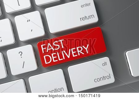 Fast Delivery Concept Metallic Keyboard with Fast Delivery on Red Enter Key Background, Selected Focus. 3D Render.