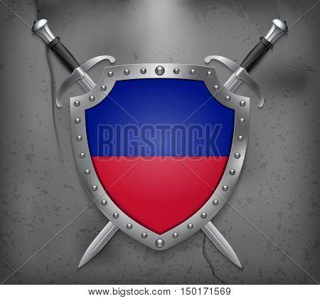 Flag Of Haiti. The Shield Has Flag Illustration. Vector Medieval Background