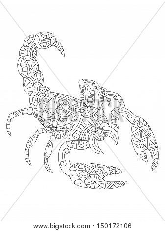 Vector illustration of the scorpion in zentangle and ethcnic style. Zodiac symbol. Tattoo, coloring page, t-shirt, card, poster, print design.