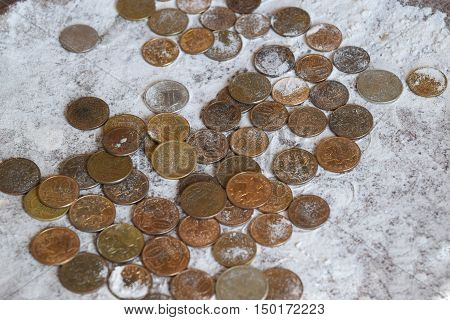 Coins In The Flour In The Balance. Rubles And Kopecks.