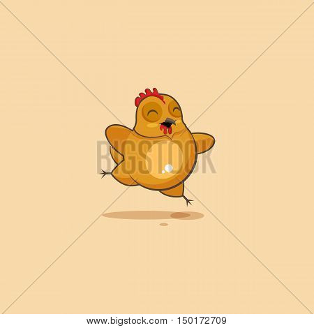Vector Stock Illustration isolated Emoji character cartoon Hen jumping for joy, happy sticker emoticon for site, infographics, video, animation, websites, e-mails, newsletters, reports, comics