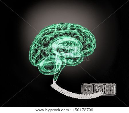 The model of a human brain is connected to electric energy. 3D illustration