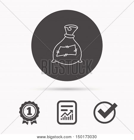 Bag with fertilizer icon. Fertilization sack sign. Farming or agriculture symbol. Report document, winner award and tick. Round circle button with icon. Vector