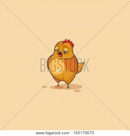 Vector Stock Illustration isolated Emoji character cartoon Hen sad and frustrated sticker emoticon for site, infographics, video, animation, websites, e-mails, newsletters, reports, comics