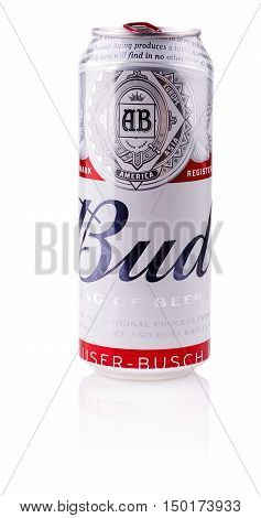 PETROPAVLOVSK-KAMCHATSKY KAMCHATKA- OCTOBER 03 2016 : Metal bottle of Budweiser Beer on a white background.