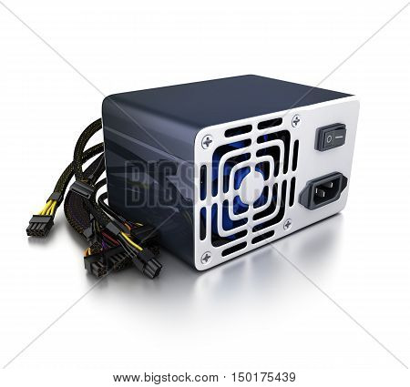 Computer power supply on white background (done in 3d rendering)