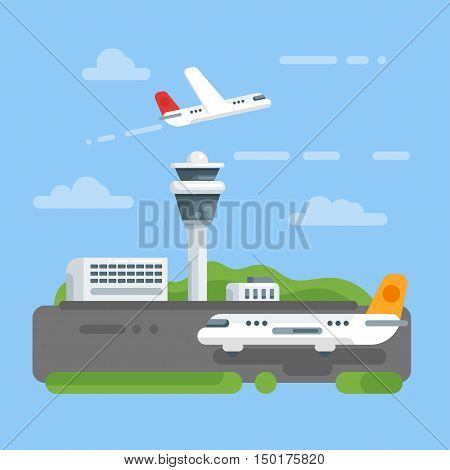 Vector flat style illustration of airport. Icon for web. Aircraft and control tower. Plane on the runway. Isolated on blue background.