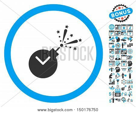 Time Fireworks Charge icon with bonus calendar and time management clip art. Vector illustration style is flat iconic bicolor symbols, blue and gray colors, white background.