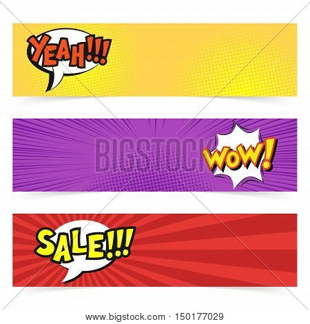 Vector hand drawn pop art banner with speech bubble. Retro style. Hand drawn sign. Illustration for print, web. Yeah, wow, sale.