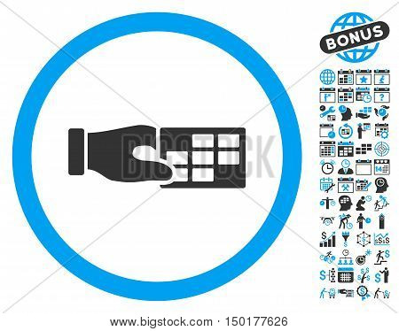 Timetable Properties Hand pictograph with bonus calendar and time management graphic icons. Vector illustration style is flat iconic bicolor symbols, blue and gray colors, white background.