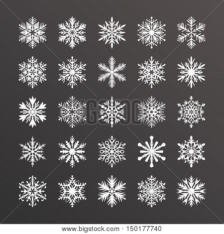 Cute snowflake collection isolated on black background. Flat snow icons snow flakes silhouette. Nice element for christmas banner cards. New year ornament. Organic and geometric snowflakes set.