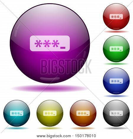 Set of color typing password glass sphere buttons with shadows.