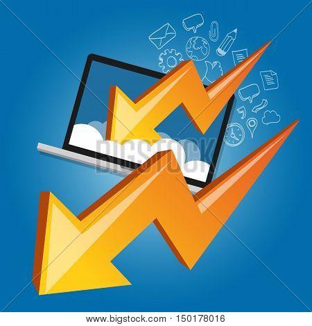down chart laptop screen cloud failure crisis business economy strike vector