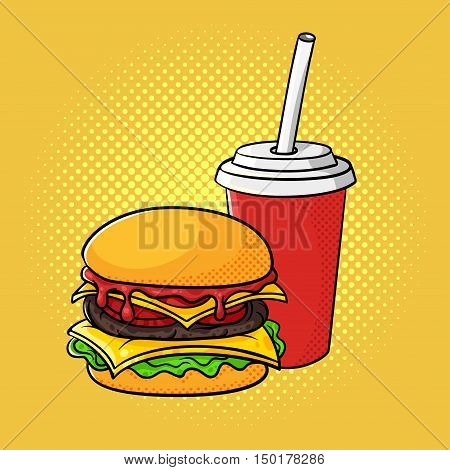 Vector hand drawn pop art illustration of hamburger and soda cup. Fast food. Retro style. Hand drawn sign. Illustration for print, web.