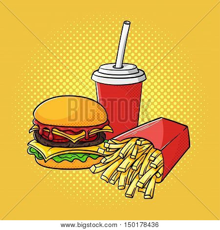 Vector hand drawn pop art illustration of hamburger, french fries and soda cup. Fast food. Retro style. Hand drawn sign. Illustration for print, web.