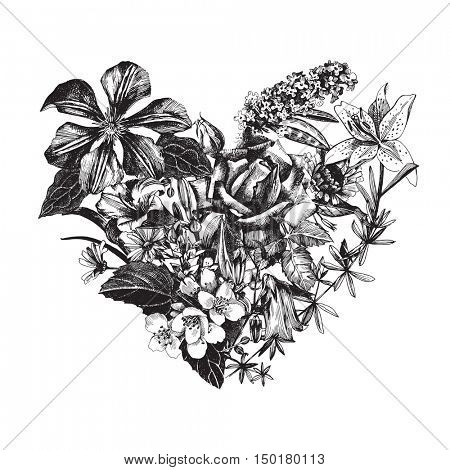 Hand drawn vector floral heart