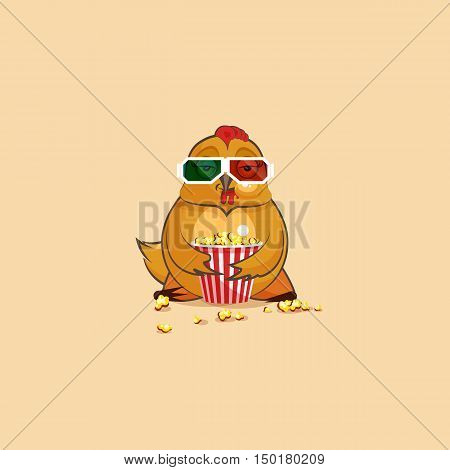 Vector Stock Illustration Emoji character cartoon Hen chewing popcorn, watching movie in 3D glasses sticker emoticon for site, infographic, video, animation, website, e-mail, newsletter, report, comic