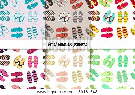Set Vector seamless pattern with hand drawn woman shoes. Beautiful design elements vintage colors. Perfect for prints and patterns.
