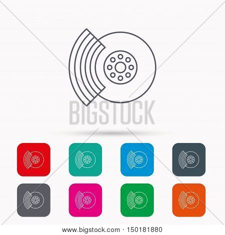 Brakes icon. Auto disk repair sign. Linear icons in squares on white background. Flat web symbols. Vector