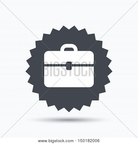 Briefcase icon. Diplomat handbag symbol. Business case sign. Gray star button with flat web icon. Vector