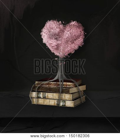 Still life with books' pile and tree heart - 3D and digital painted illustration