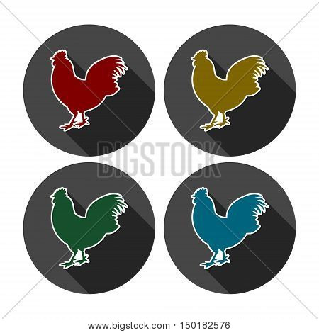 Chicken silhouettes vector icon set with long shadow