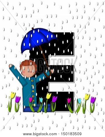 Alphabet Children April Showers E