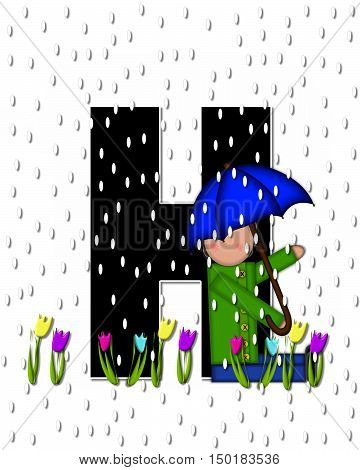 Alphabet Children April Showers H