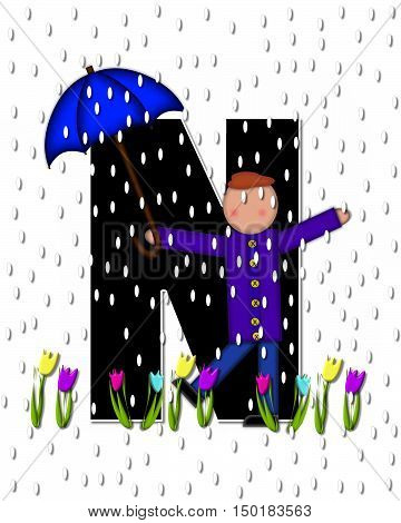 Alphabet Children April Showers N