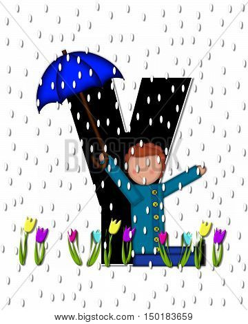 Alphabet Children April Showers Y