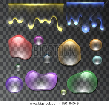 Set of multicolored transparent and flowing water drops and dew. Vector element for your design