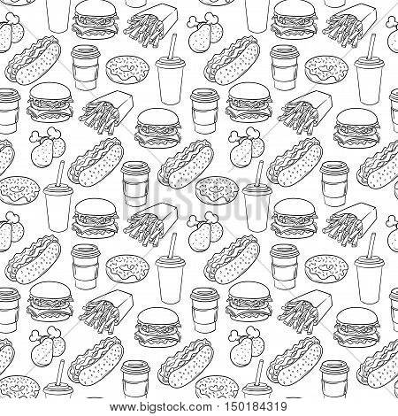 Vector hand drawn pop art monochrome fast food pattern. Illustration of burger, chicken legs, and hot dog. Retro style. Hand drawn sign. Illustration for print, web.
