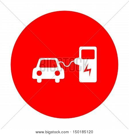 Electric Car Battery Charging Sign. White Icon On Red Circle.