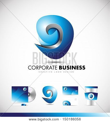 Abstract sign sphere corporate business 3d blue vector logo icon design template identity