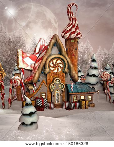 Gingerbread fantasy winter house - 3D illustration