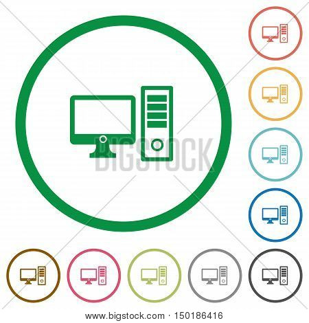 Set of desktop computer color round outlined flat icons on white background